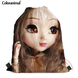 beach doll Promo Codes - Coloranimal New Drawstring Bags Cute Dolls Design Kids Gift Backpack For Ladies Little Girls Soft Beach Bag Travel Bags
