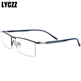 Очки для деловых мужчин онлайн-LYCZZ Popular Business Men Square Metal Myopia glasses frame  Male Transparent eyewear frame optical Clear Lens eyeGlasses