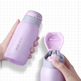 Bolsa termo online-260 / 350ml termo de acero inoxidable matraces fondo de un solo toque botella de vacío de vacío termos Straw Sport termo Traje para el bolso Y200106