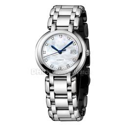 2019 белая стальная женщина Женщина Дизайнерские роскошные часы Fashion Lady Watch Кварцевый механизм 26.5mm Корпус из нержавеющей стали 316L Браслет Белый циферблат montres de luxe дешево белая стальная женщина
