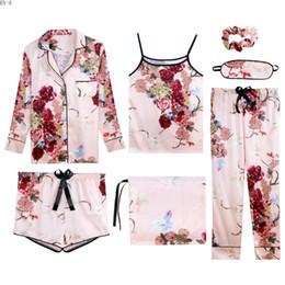 2019 sexy loungewear mujeres 7 piezas traje Spring Lady Homewear Sling Tops Summer Women Silk Pyjamas Set Lace Girls Sleepwear Women Loungewear Set Women's sexy loungewear mujeres baratos