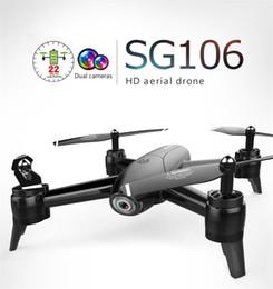 вертолетная камера rc Скидка БПЛА SG106 22 мин. 1080P / 4K Flight RC Drone - RTF Оптический поток / Высота над уровнем моря HD Две камеры Жест Фото RC Вертолет