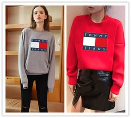 grossistes en vêtements de sport Promotion logo de la marque célèbre Lettre Sudaderas Mujer Mode Femmes pull gris rouge à manches longues Pull à capuche Pull Sweat Tory
