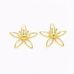fiore per gioielli Sconti 50 PZ 21mm Metallo Rame Oro Argento Filigrana Fiori Bead Cap Connettore Base Impostazione per la produzione di gioielli