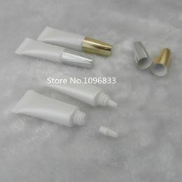Contenedor de tubo de gel vacío online-100pcs / lot 5ML blanco vacío empaquetado cosmético Tubo de plástico blando Crema Gel Ojos Empaquetado Tubo Tubo Contenedores de plástico Contenedores
