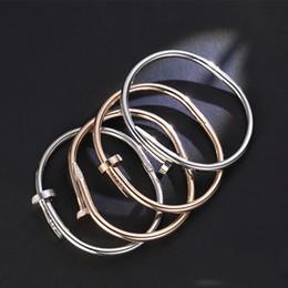 Argentina Marca Diseñador Clásico 18 K Incrustaciones de Oro Tornillo de Diamante Nail Cuff Bracelet Mujeres Moda Joyería de Lujo Mejor Regalo del Día de San Valentín Suministro