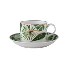Design novo conjunto de canecas e pires verde, Porcelana Café Latte Caneca Impressão Teacup De Cerâmica Xícara De Chá De Água Drinkware de Fornecedores de plantas de chá verde