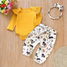 clothes button styles Promo Codes - Baby Girls Printed Suit Infant Girls Solid Tops Kids Designer Clothes Baby Casual Little Floral Pants With Headband Three-Piece Suit 06