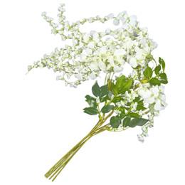 artificial suspensão glicínias flores brancas Desconto Artificial Silk Wisteria Vine Ratta Silk Hanging Flower Wedding Decor, 6 Peças, (Branco)