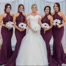 New Hot Purple Grape sirène demoiselle d'honneur robes élégant arabe Halter cou dentelle Appliques de mariage robes de soirée invité Robe de fête ? partir de fabricateur