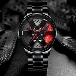 NIBOSI llanta de rueda Hub Relojes Los hombres de encargo del diseño del coche deportivo Lamer Hub reloj de los hombres de acero inoxidable a prueba de agua creativo Relogio Masculino desde fabricantes