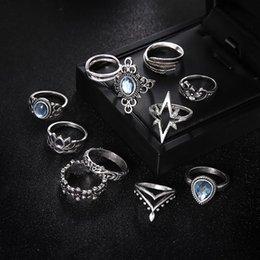 Дизайнерское кольцо Резьба Цветы Листья Капля воды Звезды Кристаллы Драгоценный камень Суставные кольца Мода Lady Party Серебряное кольцо Набор комбинаций прямая поставка от