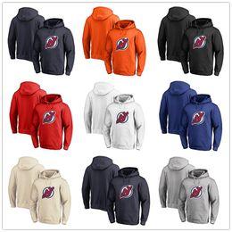 Roter teufel hoodie online-Herren New Jersey Devils Fanatics Branded Schwarz Asche Weiß Rot Orange Stickerei Primäre Logo Pullover Hoodies Langarm Outdoor Wear