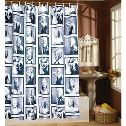 Neue vorhänge muster online-Neuer Entwurf-wasserdichte Polyester Duschvorhang Marilyn Monroe Pattern Dekorative Badezimmer Sitzwanne Badewannenabtrennungen 180x180 / 200cm