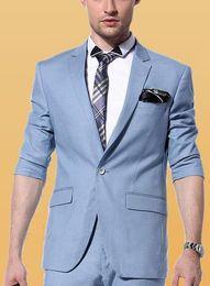 traje hermoso de los hombres de la boda Rebajas Beautiful Sky Blue Side Vent Tuxedos Novios Hombres Trajes de Boda Muesca Solapa Un Botón Hombres Cena Prom Business Tuxedos (Chaqueta + Pantalones)
