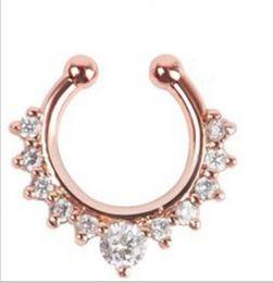 2019 anillo de la nariz de oro 18k ¡Gran venta! Anillos de aro de nariz de cristal de lujo Anillos de nariz de diseñador Joyas para el cuerpo para mujeres Plata Oro Rosa Oro Negro