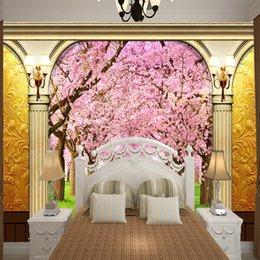 Blumentapete der romantischen Kirschblüte der Europa-Art fertigen für Hauptdekorhochzeits-Verbindungsraum-Wandverbesserung besonders an von Fabrikanten