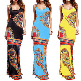 robes de dashiki Promotion Floral Dress Casual femmes Boho manches longues Dashiki Maxi robe de cocktail New Mode Vêtements Femmes Africaines