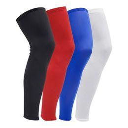 2019 cuscinetti a gomito a maglia Fitness Knee Brace Compressione maniche con polpaccio Calcio guardia Basket in esecuzione ciclismo Leggings anti-scivolo UV Leg Sleeves LJJZ86