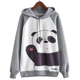 senhoras do hoodie dos desenhos animados Desconto Senhora Meninas Outono Inverno Encantador Dos Desenhos Animados Panda Impresso Casual Camisola Moda Pullover Hoodies