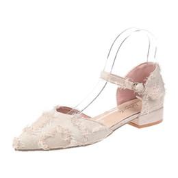tacchi alti Sconti Parola singola fibbia punto scarpe femminili xia spessa con nappine sexy scarpe col tacco alto con borsa baotou e joker