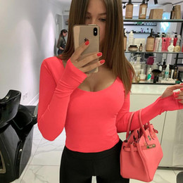 Neon-kleidung online-Orange Neon Bodysuit Frauen Langarm Bodycon Sexy Herbst-Winter-Street Club Party Outfits Casual Weibliche Kleidung