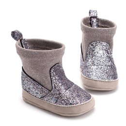 2019 purpurina zapatos bebé niña Baby Girl Glitter Botas de nieve Botines de invierno Infant Toddler Newborn Shoes 0-18M Hot New Baby Girl Boy Shoes Patchwork Bling Bota purpurina zapatos bebé niña baratos