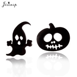 ghost earrings Promo Codes - Jisensp 2019 Cute Lovely Halloween Pumpkin Stud Earrings for Women Cartoon Stainless Steel Ghost Earrings Brincos Bijoux Femme