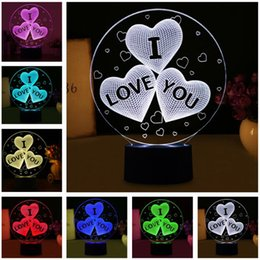love heart shaped balloon Promo Codes - Romantic Valentine I Love You 3D Balloons Heart Shape LED Night Light Mood Lamp HOT Wedding Party Decor Lovers Couple Sweetheart Xmas Gifts