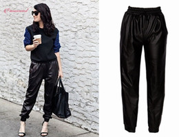 corredores de couro Desconto Calças pretas Moda Couro do falso Corredores Mulheres Jogger Hip Hop solto Street Wear Harem Pants Mulheres