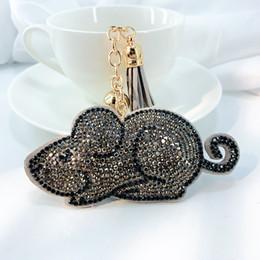 2020 portachiavi coreani carini Catena coreana Velet nappa chiave Accessori mouse sveglio Mouse gioielli portachiavi di cristallo Borsa Frange Portachiavi Animal Charm per le donne portachiavi coreani carini economici