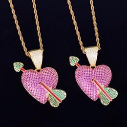 2019 collana di zircona viola Purple Heart with Green Arrow Necklace Pendant with Rope Chain Color Oro Cubic Zircone Hip Hop gioielli da uomo per regalo collana di zircona viola economici