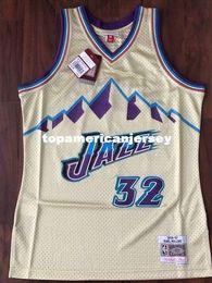Basket rare en Ligne-Haut cousu Karl Malone # 32 Gold Jersey 1996-97 Rare Maillot de bain rétro MITCHELL AND NESS Taille XS-6XL Maillots de Basketball Ncaa
