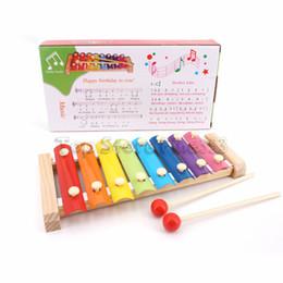 Xilofones de madeira on-line-Mão de madeira Batendo Brinquedo de Piano de Instrumentos Musicais para Crianças Criança Bebê Xilofone Developmental Brinquedos De Madeira Dos Miúdos Do Bebê Melhores Presentes