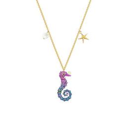 swarovski weihnachtsschmuck Rabatt Swarovski neue süße Farbe Seepferdchen Anhänger Halskette Europäische Frau Mode Kristall Perlenkette Weihnachtsschmuck Geschenk