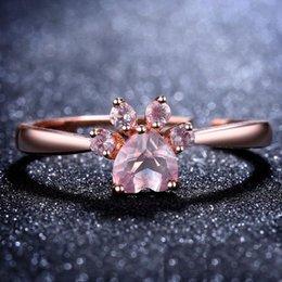 jóias anéis de cão Desconto Rose Gold Crystal Dog Paw Ring Anéis Ajustáveis Diamond Fashion Jóias para Mulheres Caçoa o Presente
