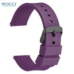 relógio de cinta de borracha roxa Desconto Faixas de relógio roxas da borracha de silicone de WOCCI com a curvatura preta para relógios do esporte alças espertas de 14mm 18mm 22mm 24mm 24mm