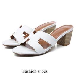 I pattini alti dell'alto tallone online-Pattini all'ingrosso di vendita al dettaglio di sandali estivi 2019 nuovo di alta qualità cuoio dell'unità di elaborazione scarpe tacco quadrato moda donna scarpe sandali da spiaggia