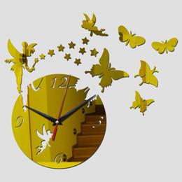 Reloj de pared de la nave online-Nueva llegada de venta directa Espejo reloj reloj de cuarzo Arte Sun acrílico relojes de pared 3d Decoración de bricolaje envío libre cristalino relojes de pared
