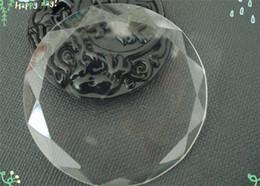 Argentina DIY 58mm cabujón de cristal con borde facetado etiqueta de vidrio redondo para el colgante en blanco para accesorio de joyería J171 Suministro