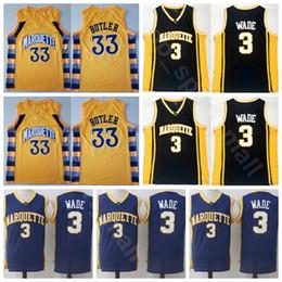College Marquette Golden Eagles Basket 33 Jimmy Butler Jersey Dwyane Wade 3 Uomini Cucita Università Nero Giallo Uniformi Qualità superiore cheap eagles black jersey da aquile maglia nera fornitori