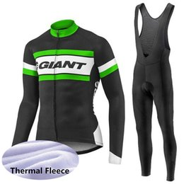Pantaloni di inverno mtb online-GIANT team Cycling Winter Thermal Fleece jersey pantalone set nuova bicicletta MTB quick-dry wear sport lungo U60401