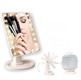 Makyaj LED Ayna 360 Derece Rotasyon Dokunmatik Ekran Makyaj Kozmetik Katlanır Taşınabilir Kompakt Cep Ile 22 LED Işık Makyaj Aynası cheap lighting for makeup nereden makyaj aydınlatması tedarikçiler