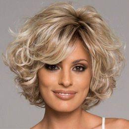 perucas jovens Desconto Wigiss Marilyn Monroe Cosplay Peruca Jovem Glamorours cor clara loira Ondulado Curto Partido Perucas Kanekalon sintético custome Perucas