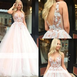 v neck ball dress Coupons - Blush Pink Brides Dress Beaded Rhinestones Top Ball Gowns Wedding Gowns Deep V Neck Low Backless Long Ruched Quinceanera Dresses BC1916