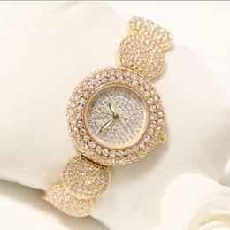 2019 volle kristallfrauenuhren Voller Diamant-Uhr-Frauen 2019 Desiger Damen-Armbanduhr-Gold-Female Clock Kristall Damen-Armbanduhr Reloj Mujer günstig volle kristallfrauenuhren