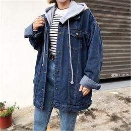 Großhandel THHONE Marke Denim Mantel Frauen Winter Parka Big Faux Pelz Mit Kapuze Velvet Übergroßen Mode Druck Jeans Mantel Frauen Winterjacke Von