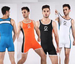 2019 traje de baño de cuerpo completo Leotardos de cuerpo completo para hombre JJSX Camiseta de lucha para hombre Body Body Swimsuit Gym Gym Bodywear Hombre Tight Swimwear traje de baño de cuerpo completo baratos