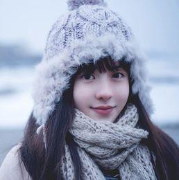 Cappelli outdoor autunno e inverno lana donna lana caldo ispessimento marea  paraorecchie cappello palla di pelo di coniglio 75eb9185eaeb