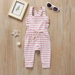 Moda Bebek Kız Pamuk Romper Yaz Çocuklar Fırfır Şerit Yay Dantel-up Rahat Tulum Toddler Askı Thouser Y2111 cheap baby suspender romper nereden bebek sünger romper tedarikçiler